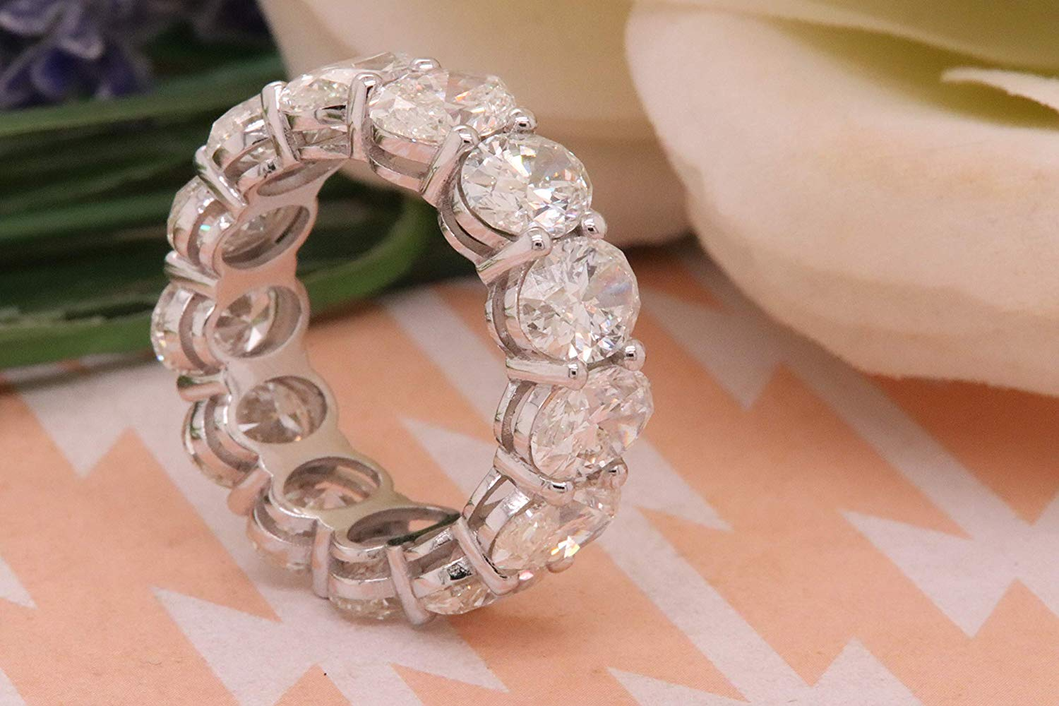Dazzlingrock Collection 13.21 Carat (ctw) Oval White Diamond Ladies Eternity Wedding Stackable Ring Band