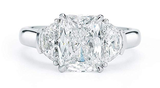 Rachel Koen Cushion Cut Half Moon Diamond Ring