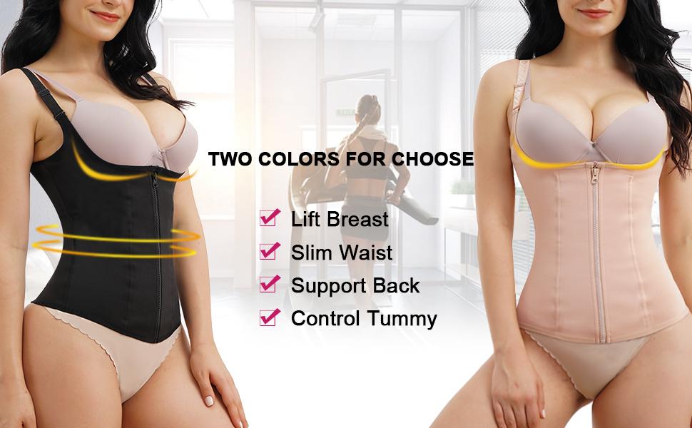 Nebility Women Waist Trainer Corset Zipper Vest