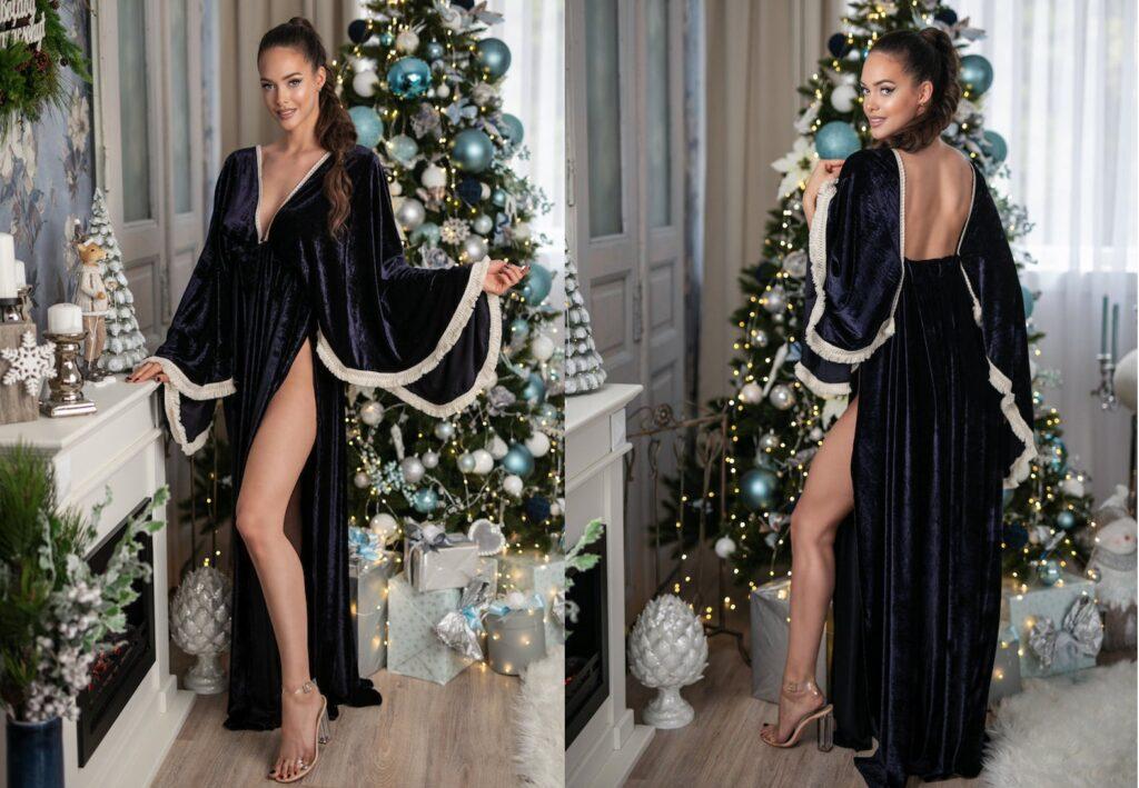Dark Blue Velvet Maternity dress for pregnancy photo session