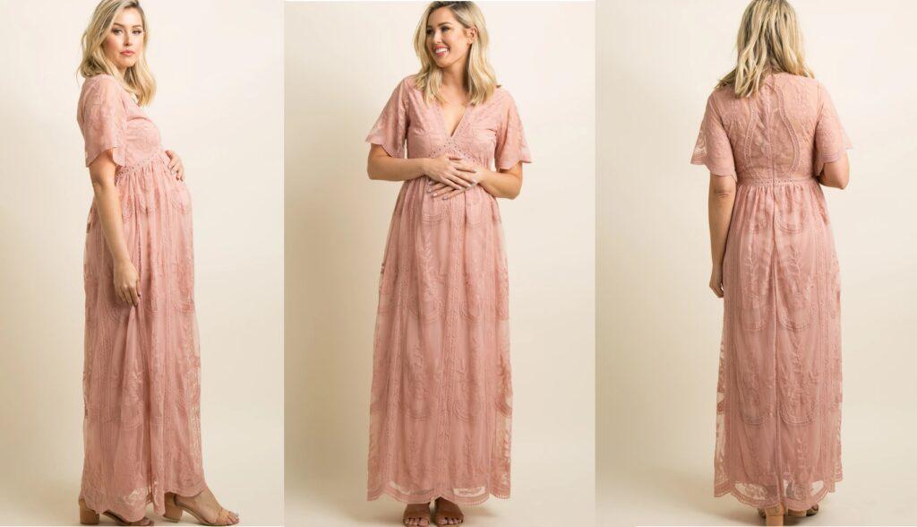 Light Pink Lace Mesh Overlay Maternity Maxi Dress